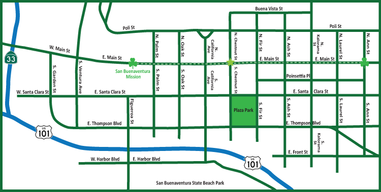St Patrick's Day parade Route in Ventura